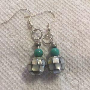 Mother of pearl beaded pierced earrings